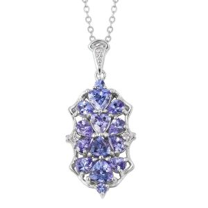 Tanzanite and Natural Cambodian White Zircon Pendant