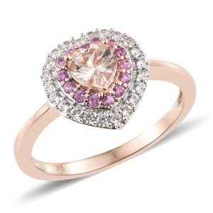 9K Rose Gold AAA Marropino Morganite, Natural Cambodian Zircon and Pink Sapphire Ring