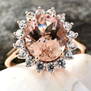 9K Rose Gold Rare Size Marropino Morganite, Natural Cambodian Zircon Ring