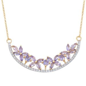 Tanzanite, Natural White Cambodian Zircon Floral Necklace