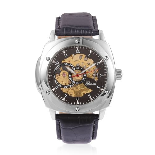 GENOA Automatic Skeleton Watch with Black Leather Strap