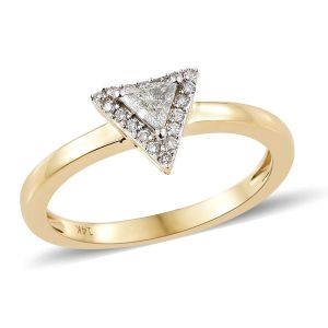 Trillion Cut Diamond Halo Ring in 14K Yellow Gold