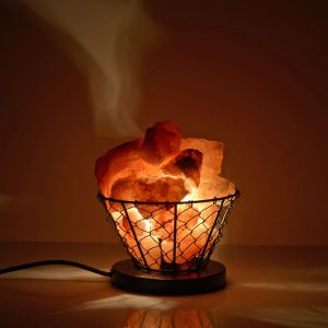 Natural Pink Himalayan Rock Salt Basket Lamp