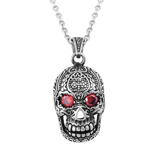 Designer Inspired-Simulated Red Garnet (Rnd) Skull Pendant With Chain