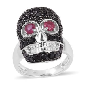 Boi Ploi Black Spinel (Rnd), African Ruby Skull Ring