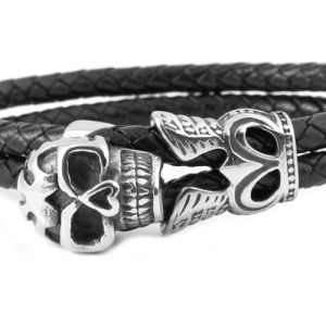 Stainless Steel and Genuine Leather Fancy Skull Bracelet
