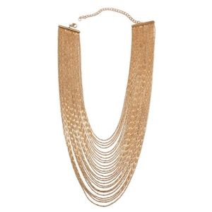 Designer Inspired Overlapping Multi Strand Waterfall Necklace