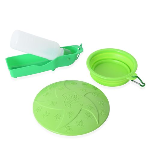 Dog Frisbee, Squeeze Water Bottle and Foldable Silicon Bowl with Hook