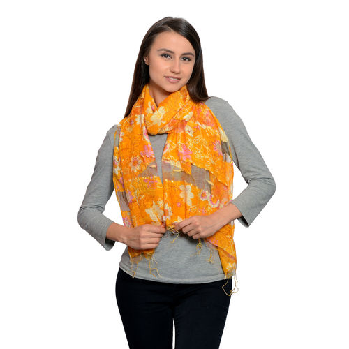 Artistic Floral Pattern Scarf with Fringes
