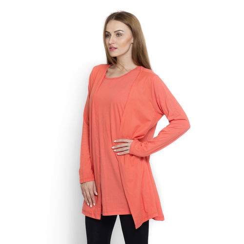 Coral Colour Long Sleeve Tank Top