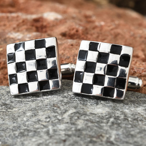 Chess Board Inspired Cufflink in Platinum Plated 925 Sterling Silver 3.13 grams