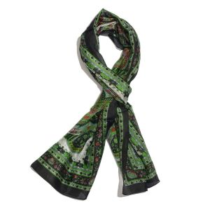 100% Mulberry Silk Green, Black and Multi Colour Handscreen Paisley Printed Scarf