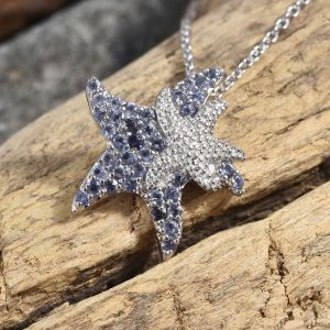 Marinus Collection Iolite Star Fish Chain Pendant in Platinum Plated Sterling Silver