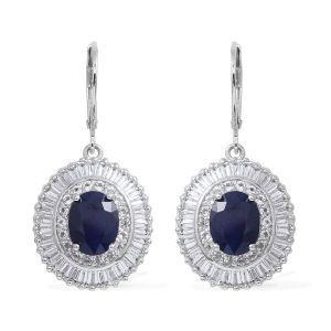 Blue Sapphire and White Topaz Halo Drop Earrings in Sterling Silver