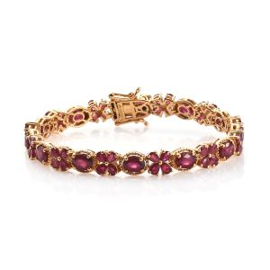 African Ruby and Kanchanaburi Blue Sapphire Tennis Bracelet in Gold Plated Sterling Silver