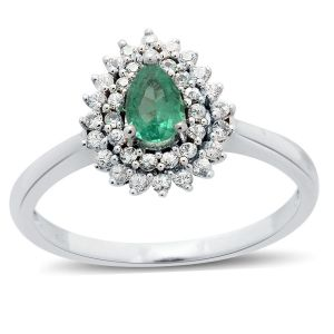 9K White Gold Boyaca Colombian Emerald, White Sapphire Ring