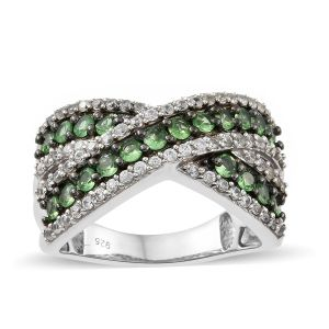 Tsavorite Garnet, Natural Cambodian Zircon Criss Cross Ring