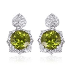 Hebei Peridot, Natural White Cambodian Zircon Earrings