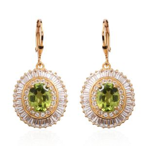 Hebei Peridot and Topaz Lever Back Earrings in Gold Plated Silver