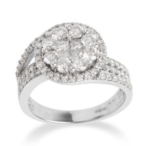 1.50 Carat Diamond Cluster Ring in 14K White Gold