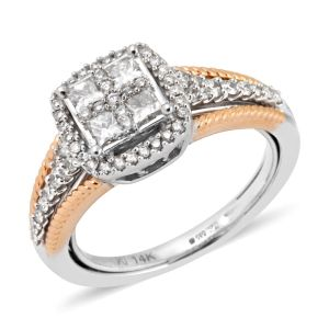 0.76 Ct Diamond I1 I2 Ring in 14K Yellow and White Gold