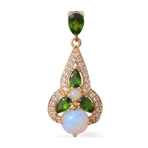 Ethiopian Welo Opal, Russian Diopside and White Topaz Pendant