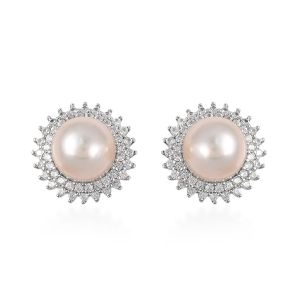 White South Sea Pearl and White Zircon Stud Earrings in Sterling Silver