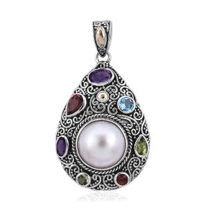 Royal Bali Mabe White Pearl and Multi Gemstones Pendant in Sterling Silver