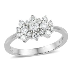 RHAPSODY 0.50 Carat IGI Certified Diamond VS EF Cluster Boat Ring in 950 Platinum
