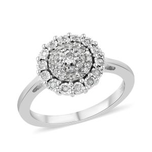 0.50 Carat Diamond Cluster Ring in 14K White Gold 4.6 Grams