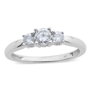 0.50 Carat Diamond Trilogy Ring in 9K White Gold SGL Certified I3 GH