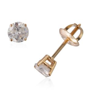 0.50 Carat Diamond Solitaire Stud Earrings in 14K Gold With Screw Back