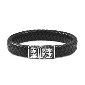Genuine Braided Leather Black Oxidised Bracelet