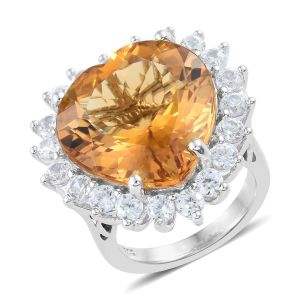 Citrine and Cambodian Zircon Heart Halo Ring in Sterling Silver