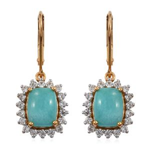Peruvain Amazonite Drop Halo Earrings in Gold Plated Sterling Silver With Lever Back