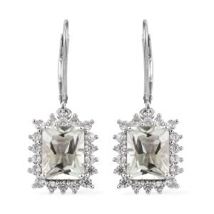 Prasiolite, Natural Cambodian Zircon Lever Back Earrings in Platinum Overlay Sterling Silver