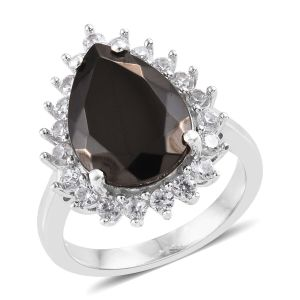 Elite Shungite, Natural Cambodian Zircon Ring in Platinum Overlay Sterling Silver