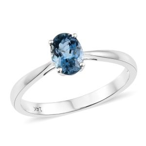 14K White Gold AA Santa Maria Aquamarine Solitaire Ring
