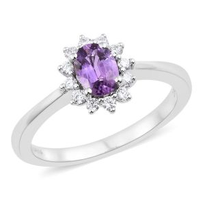 Natural Unheated Purple Sapphire and Diamond in 18K White Gold