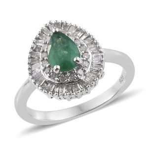 Zambian Emerald and Diamond Halo Ring in Platinum Plated Sterling Silver