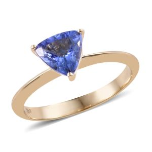 1 Carat AA Tanzanite Solitaire Ring in 14K Gold
