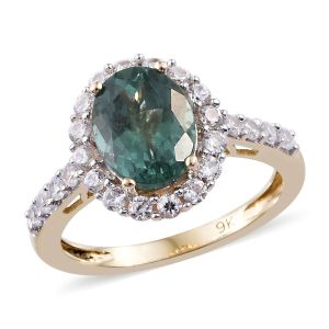 Teal Apatite and Cambodian Zircon Halo Ring in 9K Gold