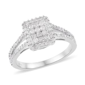 0.50 Carat Diamond Cluster Ring in Platinum Plated 925 Sterling Silver