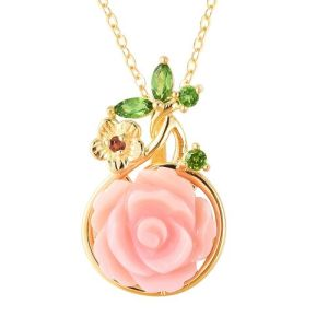 Pink Mother of Pearl and Multi Gemstone Pendant with 18 Inch Chain in Gold Plated Silver