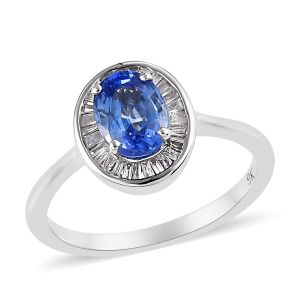 AA Royal Ceylon Sapphire and Diamond Halo Ring in 9K White