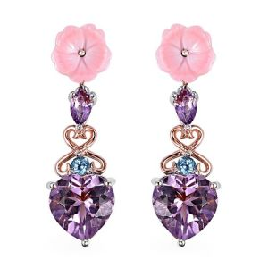 Brazilian Pink Amethyst, Pink Mother of Pearl and Multi Gemstone Heart and Flower Drop Earrings in Sterling Silver