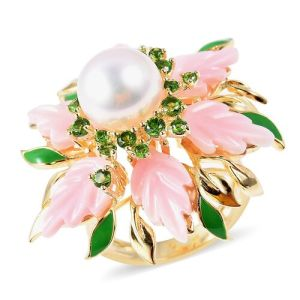 Pink Mother of Pearl, Freshwater Pearl and Russian Diopside Ring in Enameled and Yellow Gold Overlay Sterling Silver