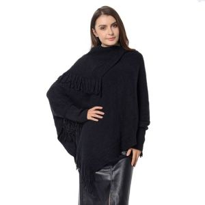 Designer Inspired- Black Colour Triangular Collor Poncho with Tassels
