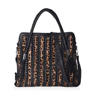 100% Genuine Leather Black and Beige Snake Skin Pattern Tote Bag Size