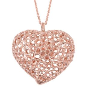 Heart Pendant with Chain in Rose Gold Plated Silver